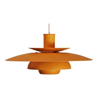 Mid-Century Vintage Danish Pendant Orange Lamp For Sale