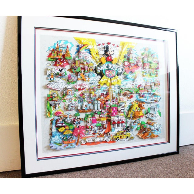 Illustration Mickey's World Tour 3d Framed Art by Charles Fazzino For Sale - Image 3 of 10
