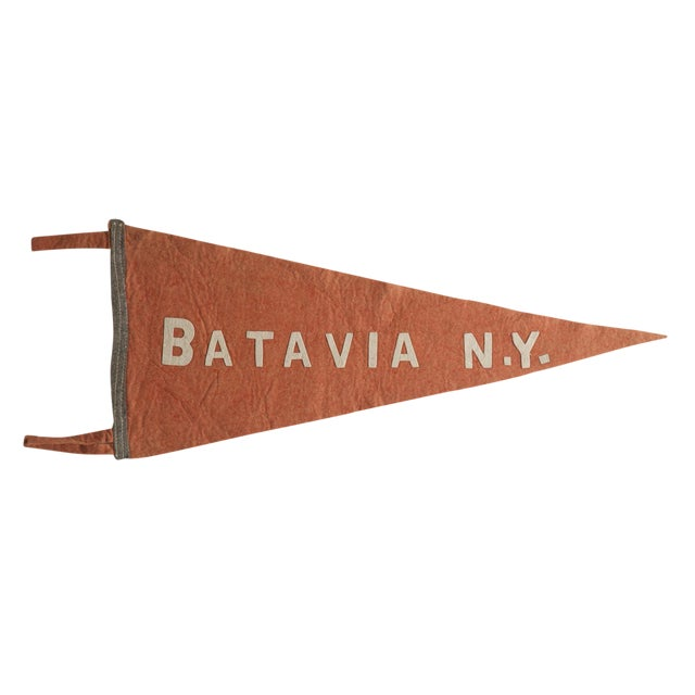 Antique Batavia n.y. Felt Flag Pennant For Sale