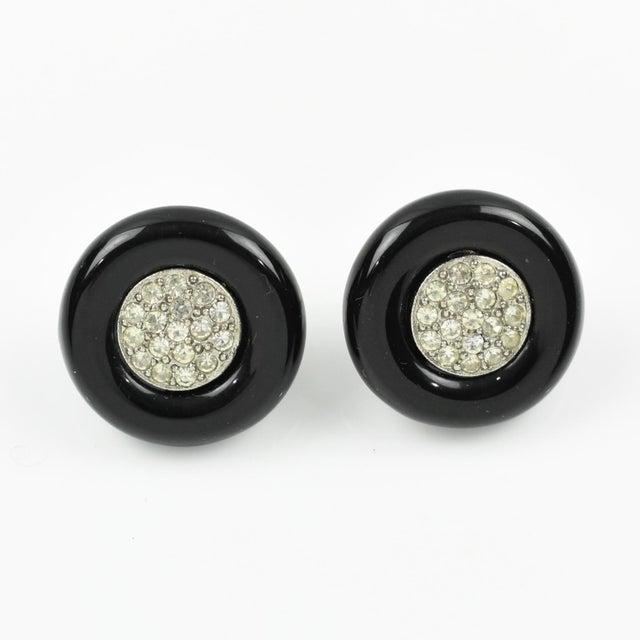 Angela Caputi Black Resin and Clear Rhinestones Stud Earrings For Sale In Atlanta - Image 6 of 6