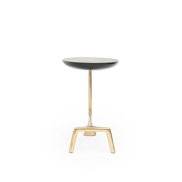 Art Deco Uovo Side Table (Shagreen & Brass ) by Sylvan San Francisco For Sale - Image 3 of 8