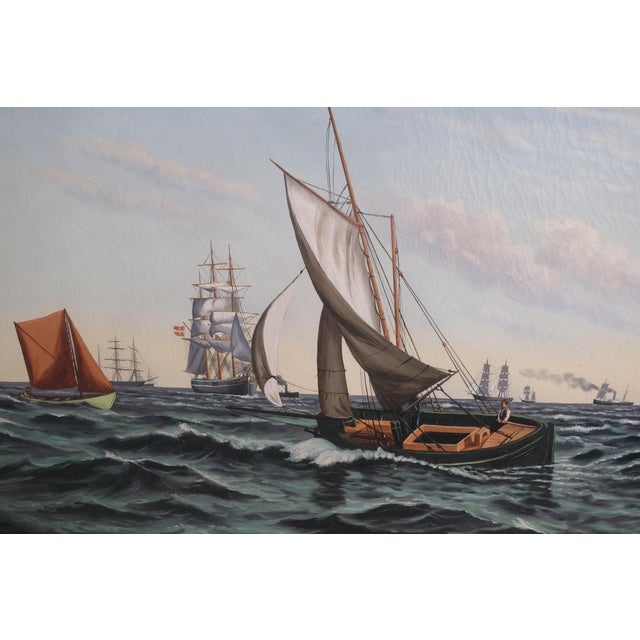 """""""Ships Coming to Harbor"""" seascape featuring multiple ships on the rough seas in a large ornate gold frame. Oil on cavas...."""
