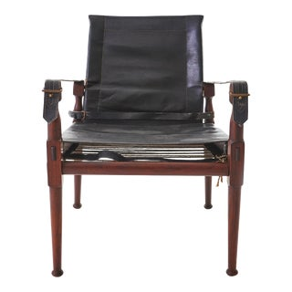 1970's Rosewood and Leather M. Hayat & Brothers Pakistani Safari Chair For Sale