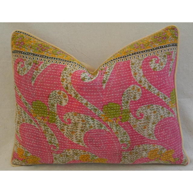 Vintage Kantha Feather & Down Textile Pillow - Image 4 of 5
