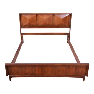 Mid-Century Modern Sculpted Walnut Diamond Front Full Size Bed Frame For Sale