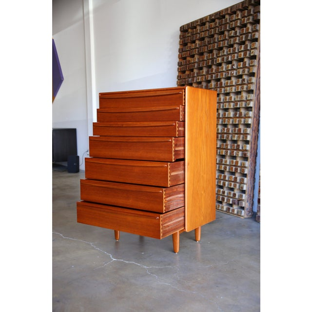Mid 20th Century Mid Century Danish Modern Svend Aage Madsen for Falster Mobelfabrik Teak Highboy Dresser For Sale - Image 5 of 9