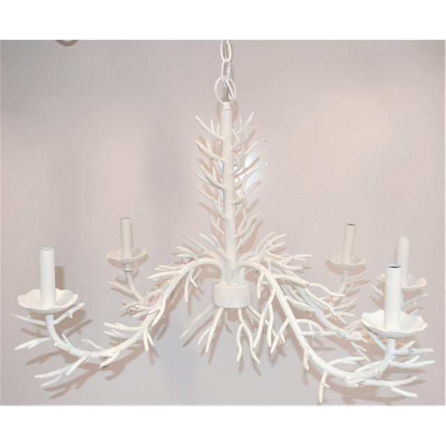 White 5 Arm Faux Coral Chandelier For Sale - Image 4 of 10