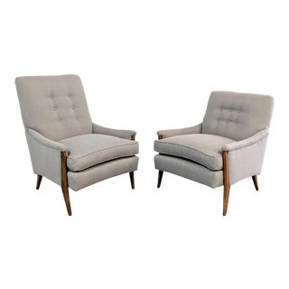 Kroehler Mid-Century Modern Gray Wool Walnut Lounge Chairs - a Pair
