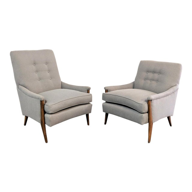 Kroehler Mid-Century Modern Gray Wool Walnut Lounge Chairs - a Pair For Sale