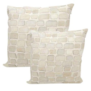 "Premium Leather & Cowhide Pillows in Pebble Pattern 20""x20"" For Sale"
