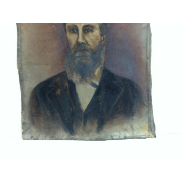 "Figurative 1920s Vintage ""Bearded Man"" Original Painting on Canvas For Sale - Image 3 of 6"