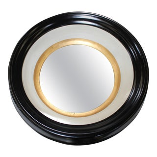 Round Black and Gold Wall Mirror
