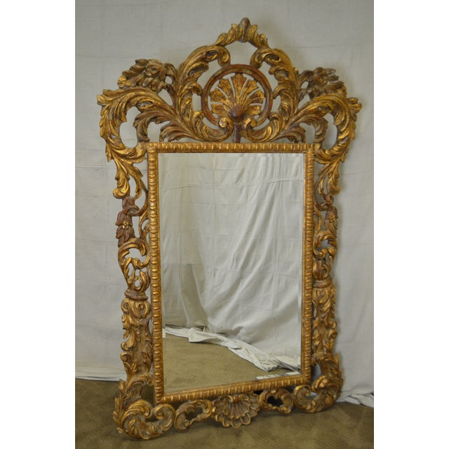 Rococo Style Large Giltwood Beveled Wall Mirror - Image 2 of 10
