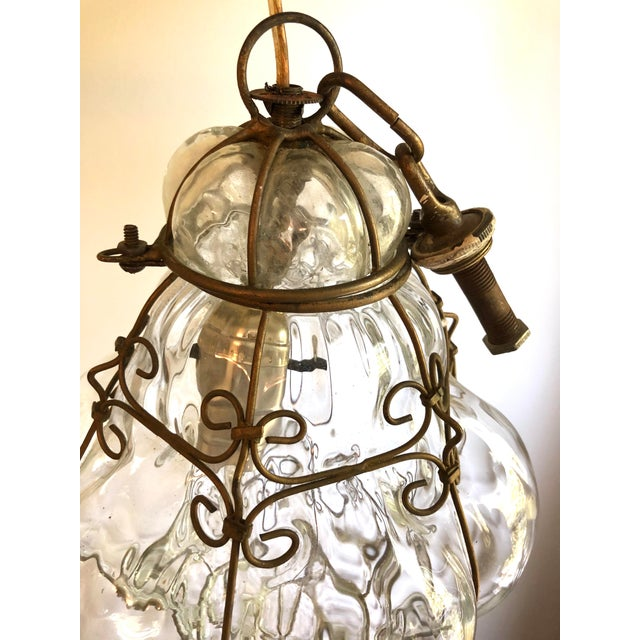 Boho Chic Caged Clear Murano Glass Lantern Pendant For Sale - Image 3 of 6