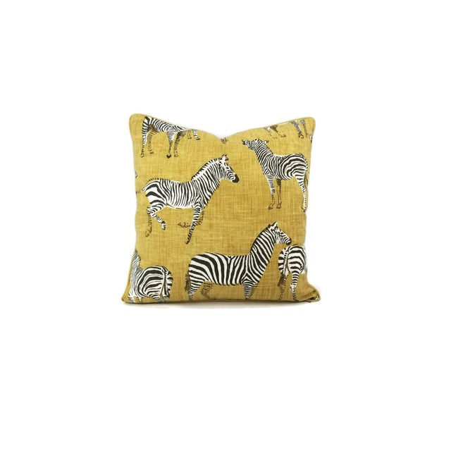 """African Home Accents Ronnie Gold Africana in Gold Cotton Zebra Print Pillow Covers - a Pair, 20"""" X 20"""" For Sale - Image 3 of 9"""