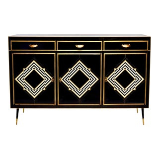 Murano Black and White Glass Clad Cabinet or Sideboard With Brass Hardware For Sale