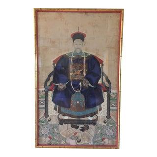 Early 19th Century Chinese Ancestor Silk Portrait - Originally a Silk Scroll For Sale