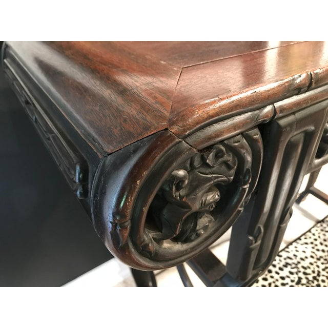 Asian Antique Antique Asian Hand Carved Console For Sale - Image 3 of 9