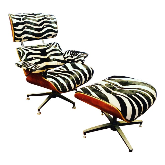 Modern Custom Zebra Hide Eames Style Lounge Chair and Ottoman For Sale