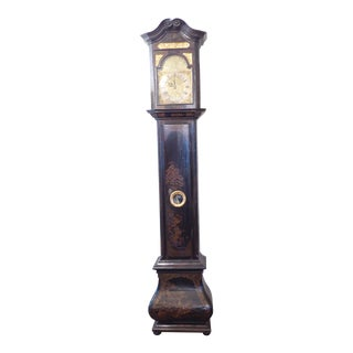 18th Century Chinoiserie Black Lacquer Grandfather Clock For Sale