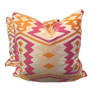 "Bright Ikat 22"" Pillows-A Pair For Sale"