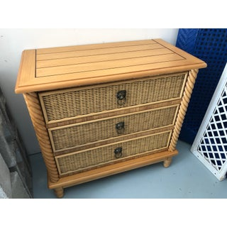Boho Chic Wicker and Wrapped Rattan Nightstand Preview