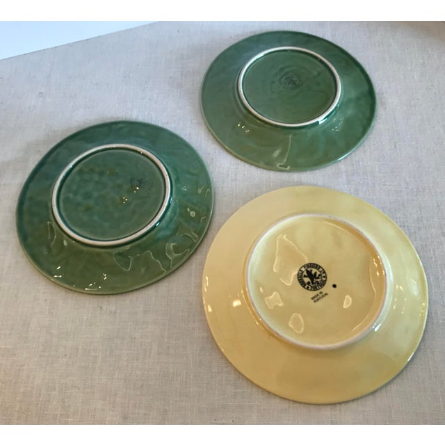 Ceramic Mid-Century Modern Portuguese Green and Yellow Ceramic Fruit Plates - Set of 3 For Sale - Image 7 of 11
