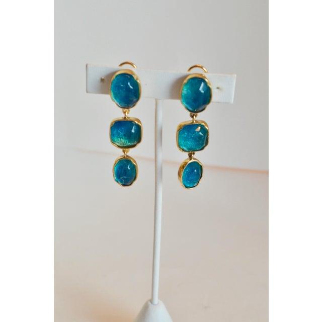 2010s Goossens Paris Triple Drop Tinted Rock Crystal Clip Earrings For Sale - Image 5 of 7