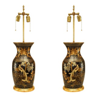 English Regency Chinoiserie Lacquered Table Lamps-a Pair For Sale