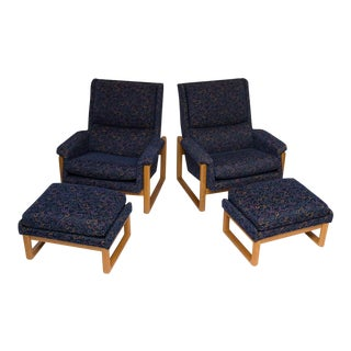 Danish Modern Style Lounge Chairs and Ottomans