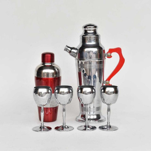 1940s Art Deco Chrome and Red Lucite Cocktail Shaker Set - 6 Pieces For Sale - Image 4 of 4