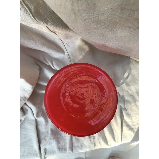 Late 20th Century Red Art Glass Wide Mouth Vase For Sale - Image 4 of 5