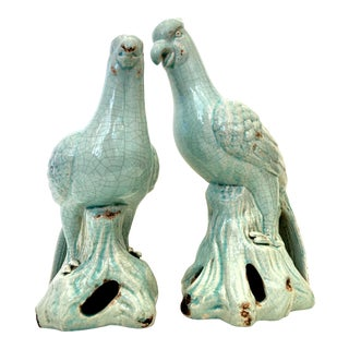 Robins Egg Blue Ceramic Glazed Bird Sculptures - a Pair For Sale