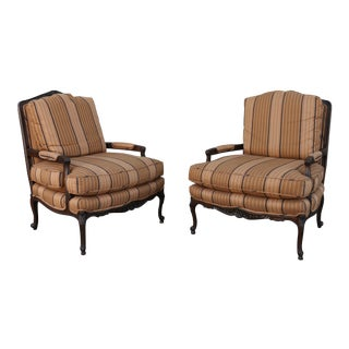 1980s Vintage Baker Bergere Chairs- A Pair For Sale