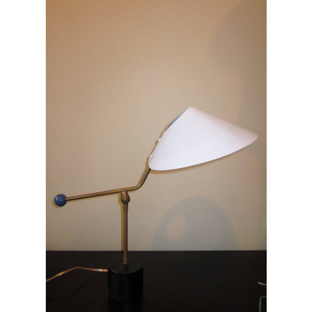 1950s Angular French Modernist Counterweight White UFO Shade Desk Lamp For Sale - Image 13 of 13