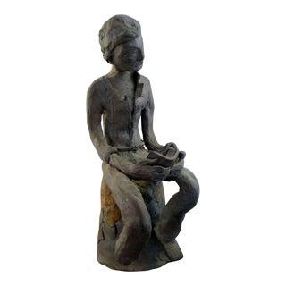 Vintage Cold Cast Sculpture of Boy Reading a Book on Tree Stump Signed Weber For Sale