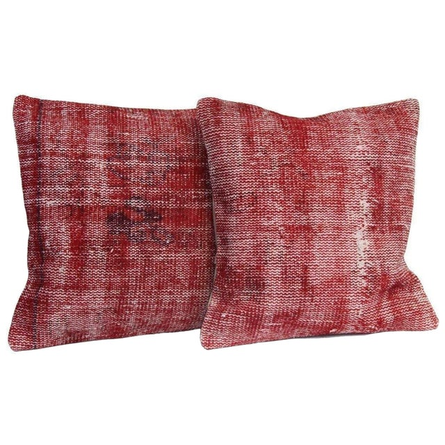Red Over-Dyed Rug Pillow Covers - A Pair - Image 1 of 7