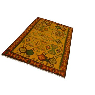 Navajo Style Jacquett Gold/Rust Hand-Woven Kilim Wool Rug - 8'1 X 11'3 Preview