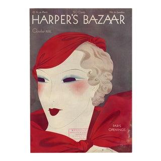 """""""Harper's Bazaar, October 1932."""" Original Vintage Fashion Magazine Cover For Sale"""