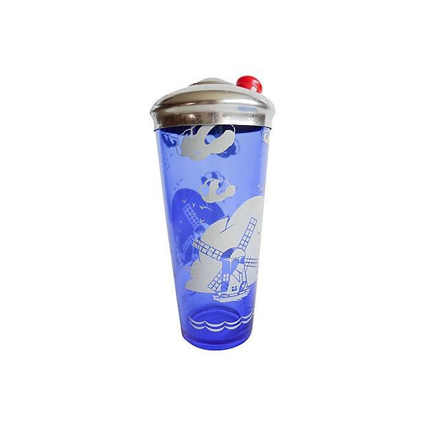 Vintage 1950s Blue Cocktail Shaker & Ice Bucket - Image 2 of 6
