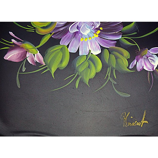 Vintage Hand Painted Floral Tray by Nashco Products - Image 5 of 6