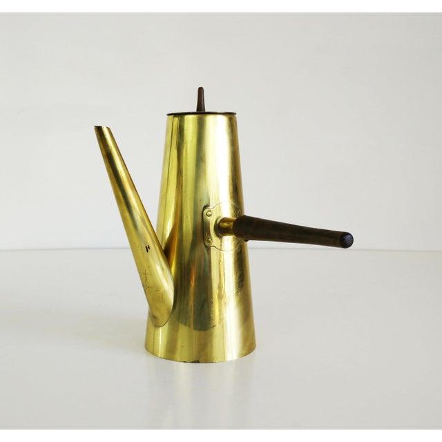 Mid-Century Brass & Teak Coffee Server For Sale - Image 6 of 6