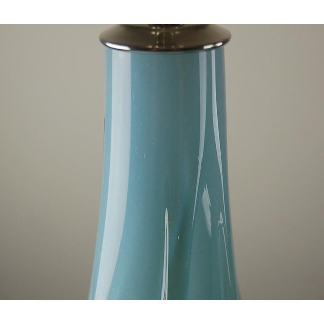 Vintage Murano Opaline Glass Table Lamps Blue For Sale - Image 9 of 9