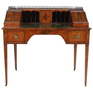 1910s Edwardian English Satinwood Carlton House Writing Desk For Sale