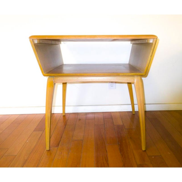 Beautiful, graphic Heywood Wakefield side table with storage for your coffee table books, or photo albums. Small scratch...