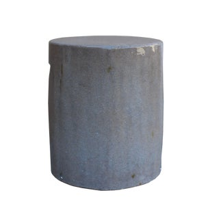 Chinese Ceramic Clay Mauve Beige Glaze Round Flat Column Garden Stool For Sale