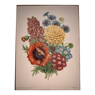 Early 20th Century Antique Floral Botanical Parchment Lithograph Print For Sale