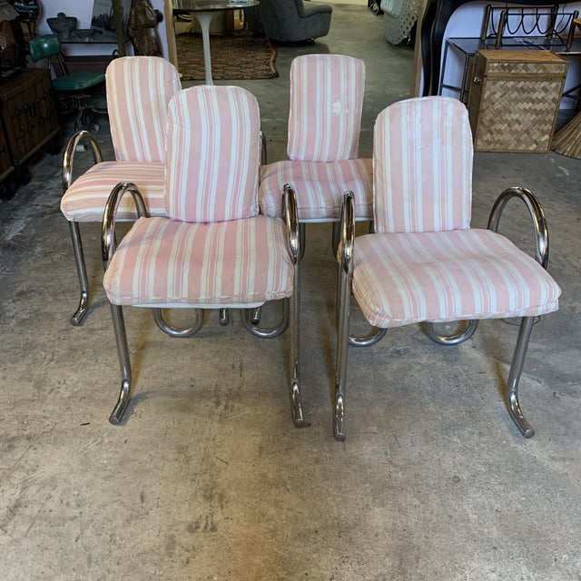 Very unusual chrome tubular chairs. Price is for all four. While you could certainly use these the way they are, you would...