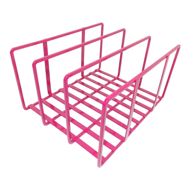 1980s Pink Metal Vinyl Record Holder Book Stand For Sale