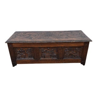 Antique English or Continental Oak Chest With Carving For Sale